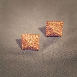 Pave square raised earrings